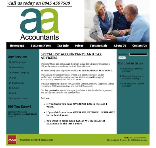 Adams Accountancy website