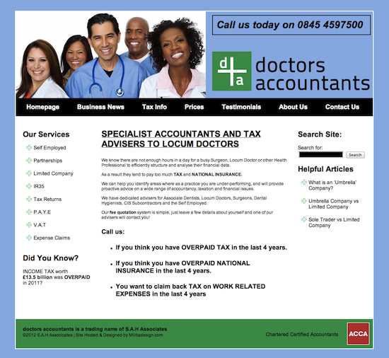 Doctors Accountants Website